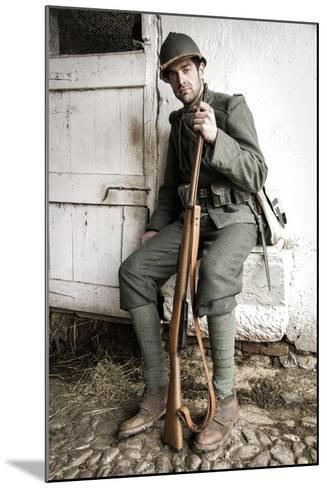 Historical Reenactment: Foot Soldier in Italian Army--Mounted Photographic Print
