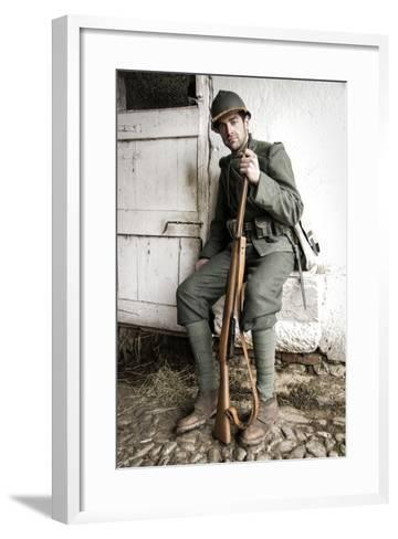 Historical Reenactment: Foot Soldier in Italian Army--Framed Art Print