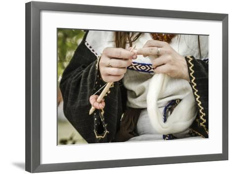 Historical Reenactment: Woman Spinning Wool in Gallic Village--Framed Art Print