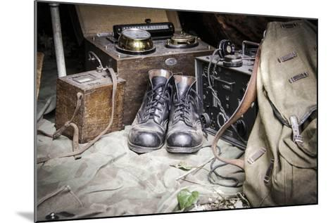 Historical Reenactment: Radio Equipment in German Camp--Mounted Photographic Print