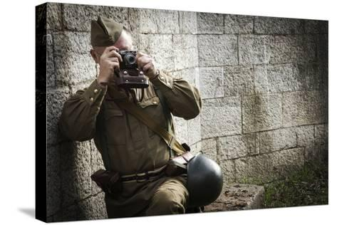 Historical Reenactment: Red Army Soldier Taking Photograph--Stretched Canvas Print