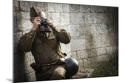 Historical Reenactment: Red Army Soldier Taking Photograph--Mounted Photographic Print
