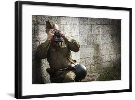 Historical Reenactment: Red Army Soldier Taking Photograph--Framed Art Print