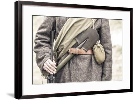 Historical Reenactment: Red Army Soldier with His Equipment--Framed Art Print