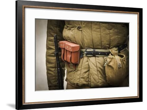 Historical Reenactment: Red Army Soldier with Rifle--Framed Art Print