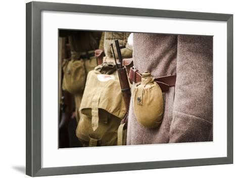 Historical Reenactment: Red Army Soldier with Rifle and Canteen--Framed Art Print