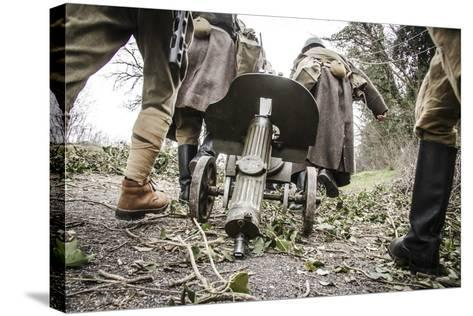 Historical Reenactment: Red Army Soldiers Carrying M1910 Pm Machine Gun. Second World War--Stretched Canvas Print