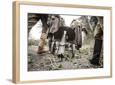 Historical Reenactment: Red Army Soldiers Carrying M1910 Pm Machine Gun. Second World War--Framed Art Print
