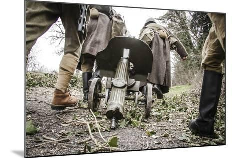 Historical Reenactment: Red Army Soldiers Carrying M1910 Pm Machine Gun. Second World War--Mounted Photographic Print
