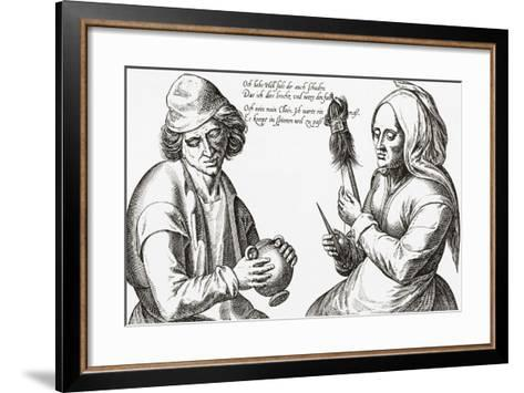 In the Spinning Room. a Scene from the Middle Ages. from Illustrierte Sittengeschichte Vom Mittelal--Framed Art Print