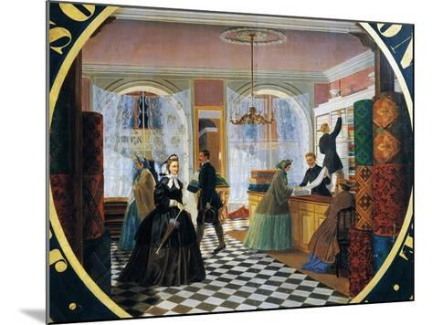 Interior of Drapery Store--Mounted Giclee Print