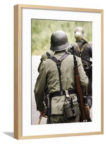 Historical Reenactment: German Soldiers of 26th Panzer Division--Framed Art Print