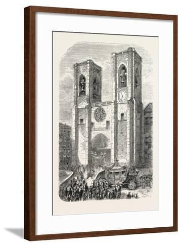 Inauguration of the Reign of Don Pedro V as King of Portugal: Reception of the King by the Patriarc--Framed Art Print