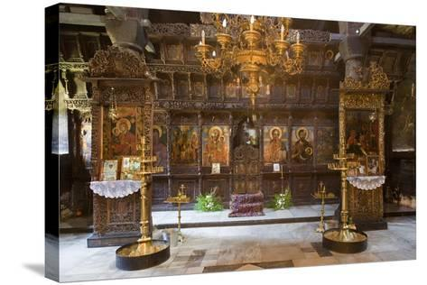Interior of Most Holy Mother of God Church (1835) in Monastery of Dormition (Troyan Monastery)--Stretched Canvas Print