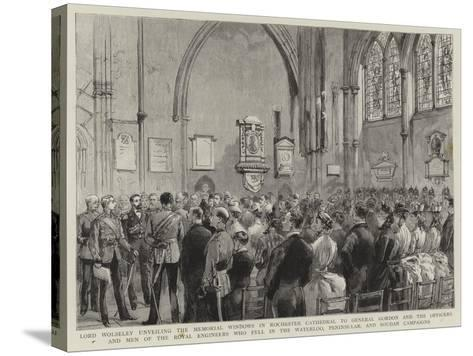 Lord Wolseley Unveiling the Memorial Windows in Rochester Cathedral to General Gordon and the Offic--Stretched Canvas Print