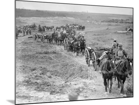 Limbers of the 6th Brigade of Australian Field Artillery Bringing Up Ammunition to the Guns Through--Mounted Photographic Print