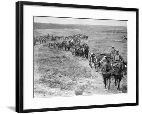 Limbers of the 6th Brigade of Australian Field Artillery Bringing Up Ammunition to the Guns Through--Framed Art Print