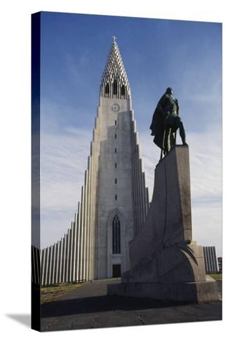 Lutheran Church of Hallgrimurin (Hallgrimskirkja) in Reykjavik--Stretched Canvas Print
