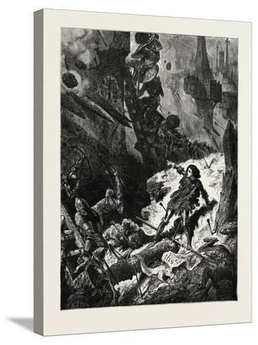 Joan of Arc (Jean D'Arc) at the Siege of Paris--Stretched Canvas Print