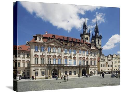 Kinský Palace and the Gothic Church of Our Lady before Tyn on the Old-Town Square--Stretched Canvas Print