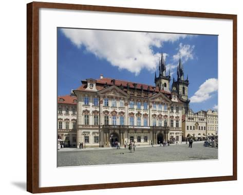 Kinský Palace and the Gothic Church of Our Lady before Tyn on the Old-Town Square--Framed Art Print