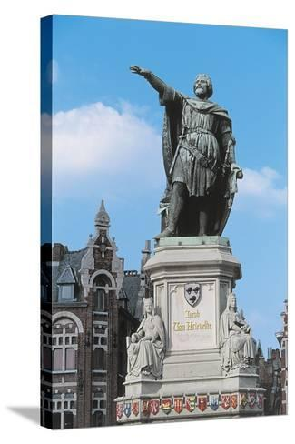 Low Angle View of a Statue in a Market Square--Stretched Canvas Print