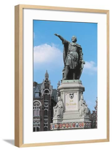 Low Angle View of a Statue in a Market Square--Framed Art Print