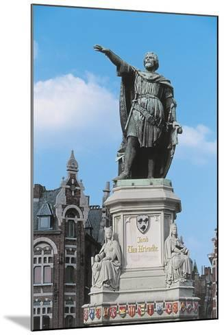 Low Angle View of a Statue in a Market Square--Mounted Giclee Print