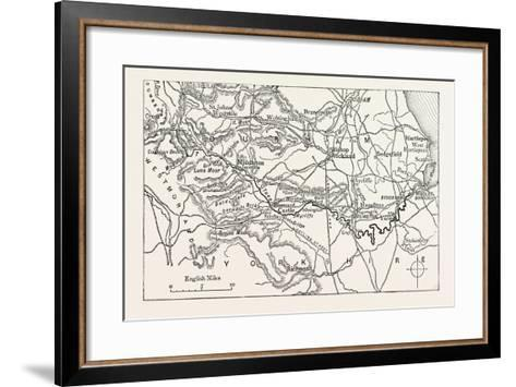 Map of the Course of the Tees. the River Tees Is in Northern England. it Rises on the Eastern Slope--Framed Art Print