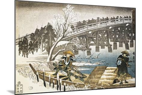 Men in Boat on River with Bridge and Snowy Landscape in Background--Mounted Giclee Print