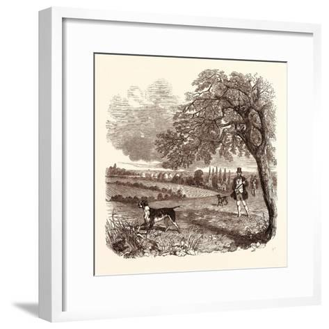 Partridge Shooting in September. Shotgun--Framed Art Print