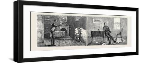 Passages in the Life of a Subaltern: Left Image: Annoying Going to Bed Very Tired to Find Your Serv--Framed Art Print