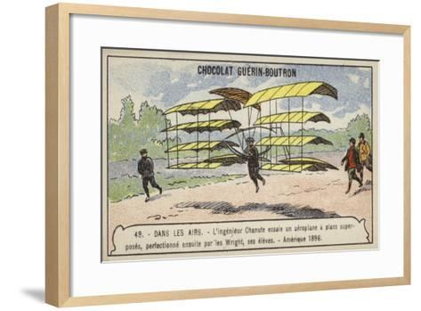 Octave Chanute Testing a Glider of a Design Afterwards Perfected by His Students--Framed Art Print