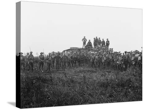 Outdoor Group Portrait of a Tank Crew and Some Members of the 5th Australian Infantry Brigade--Stretched Canvas Print