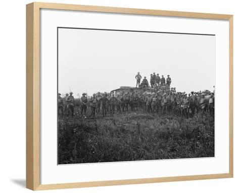 Outdoor Group Portrait of a Tank Crew and Some Members of the 5th Australian Infantry Brigade--Framed Art Print
