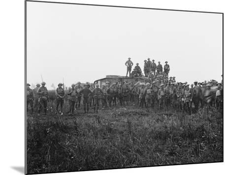 Outdoor Group Portrait of a Tank Crew and Some Members of the 5th Australian Infantry Brigade--Mounted Photographic Print
