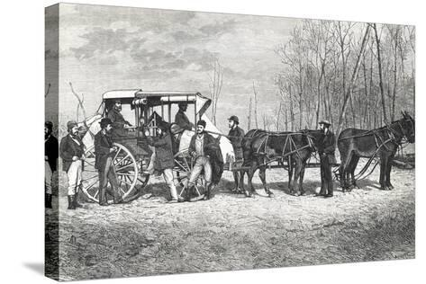 Prairie Stagecoach--Stretched Canvas Print