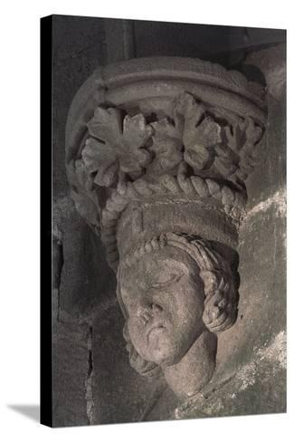 Relief in Form of a Male Head with a Crown of Grape Leaves--Stretched Canvas Print