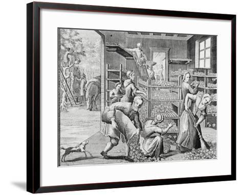 Putting Leaves on Shelves to Feed Silkworms--Framed Art Print