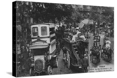 Postcard Showing an Omnibus Station on the Crossroads of Boulevard Montmartre and Boulevard Des Ita--Stretched Canvas Print
