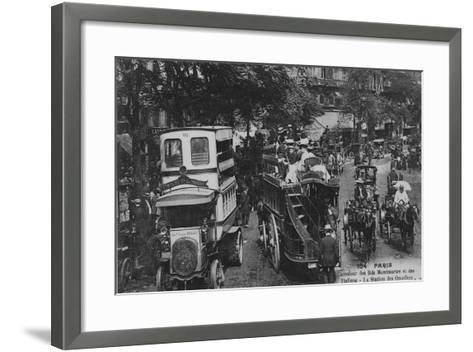 Postcard Showing an Omnibus Station on the Crossroads of Boulevard Montmartre and Boulevard Des Ita--Framed Art Print