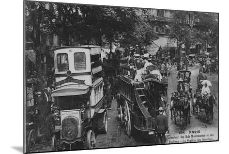 Postcard Showing an Omnibus Station on the Crossroads of Boulevard Montmartre and Boulevard Des Ita--Mounted Giclee Print