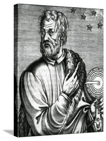 Portrait of Christopher Columbus from 'Les Vrais Portraits Et Vies Des Hommes' by Andre Thevet--Stretched Canvas Print