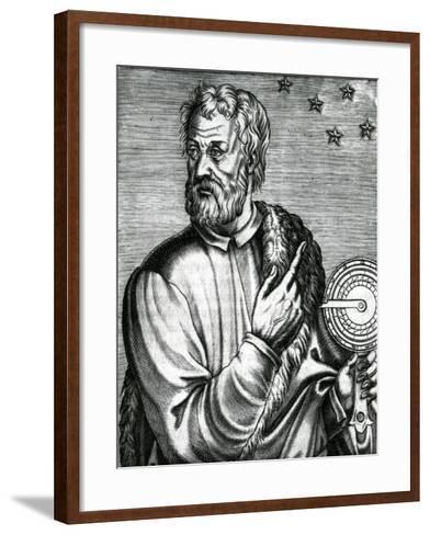 Portrait of Christopher Columbus from 'Les Vrais Portraits Et Vies Des Hommes' by Andre Thevet--Framed Art Print