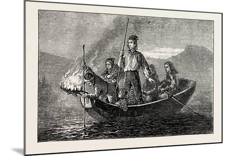 Salmon Spearing by Night--Mounted Giclee Print