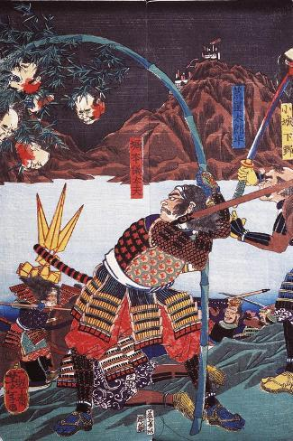 Samurai Displaying Severed Heads of their Enemies on Bamboo Canes--Stretched Canvas Print