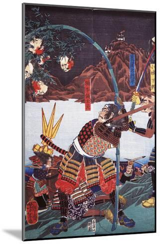 Samurai Displaying Severed Heads of their Enemies on Bamboo Canes--Mounted Giclee Print