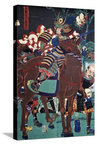 Samurai on Horseback Preparing to Go Battle--Stretched Canvas Print