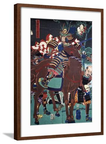 Samurai on Horseback Preparing to Go Battle--Framed Art Print