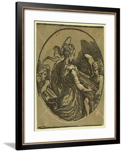 St. Cecilia. Chiaroscuro Woodcut--Framed Art Print